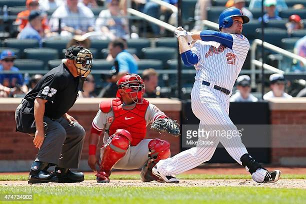 Lucas Duda of the New York Mets connects on a solo home run against the Philadelphia Phillies in the third inning at Citi Field on May 25 2015 in...