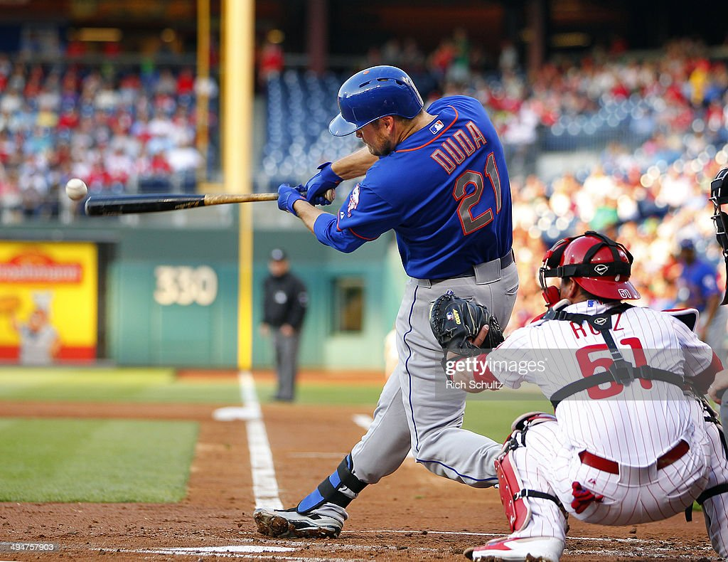 <a gi-track='captionPersonalityLinkClicked' href=/galleries/search?phrase=Lucas+Duda&family=editorial&specificpeople=7172550 ng-click='$event.stopPropagation()'>Lucas Duda</a> #21 of the New York Mets hits a double scoring a run in the second inning against the Philadelphia Phillies in a game at Citizens Bank Park on May 30, 2014 in Philadelphia, Pennsylvania.