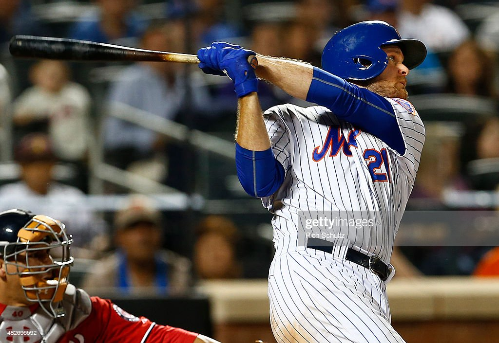 Lucas Duda of the New York Mets hits a home run during the seventh inning against the Washington Nationals on August 1 2015 at Citi Field in the...