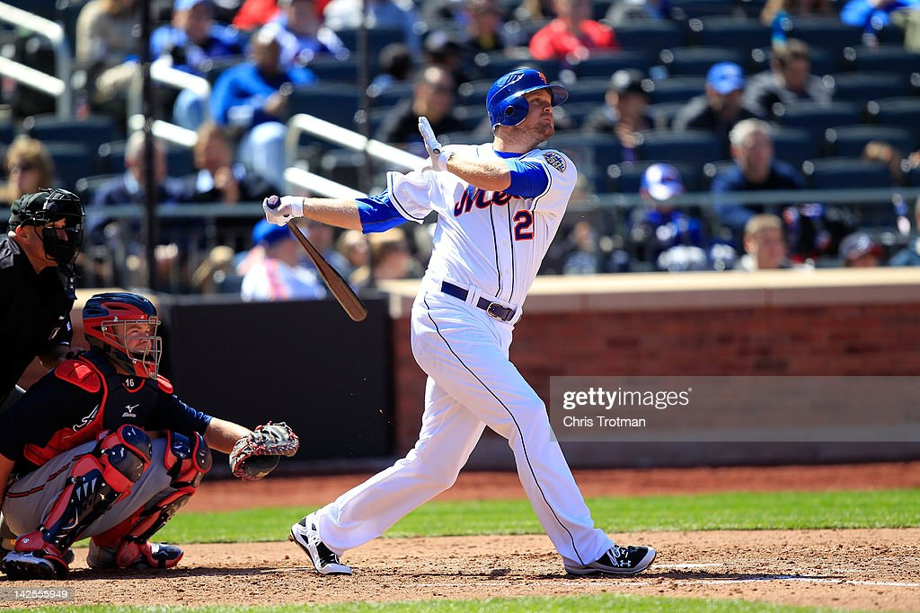 Lucas Duda of the New York Mets hits a home run in the 4th inning against the Atlanta Braves at Citi Field on April 7 2012 in the Flushing...