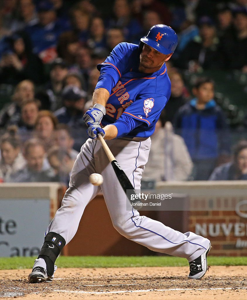 Lucas Duda #21 of the New York Mets hits a single in the 8th inning against the Chicago Cubs at Wrigley Field on May 12, 2015 in Chicago, Illinois. The Cubs defeated the Mets 6-1.