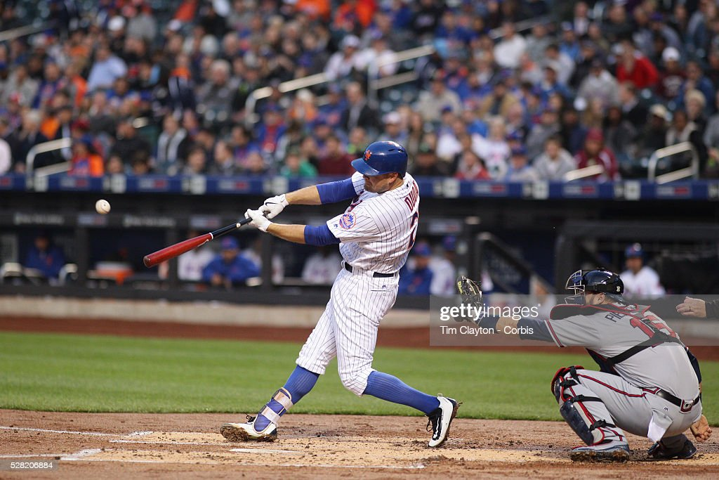 Lucas Duda #21 of the New York Mets hits a solo home run in the first inning off Mike Foltynewicz #26 of the Atlanta Braves during the Atlanta Braves Vs New York Mets MLB regular season game at Citi Field on May 02, 2016 in New York City.