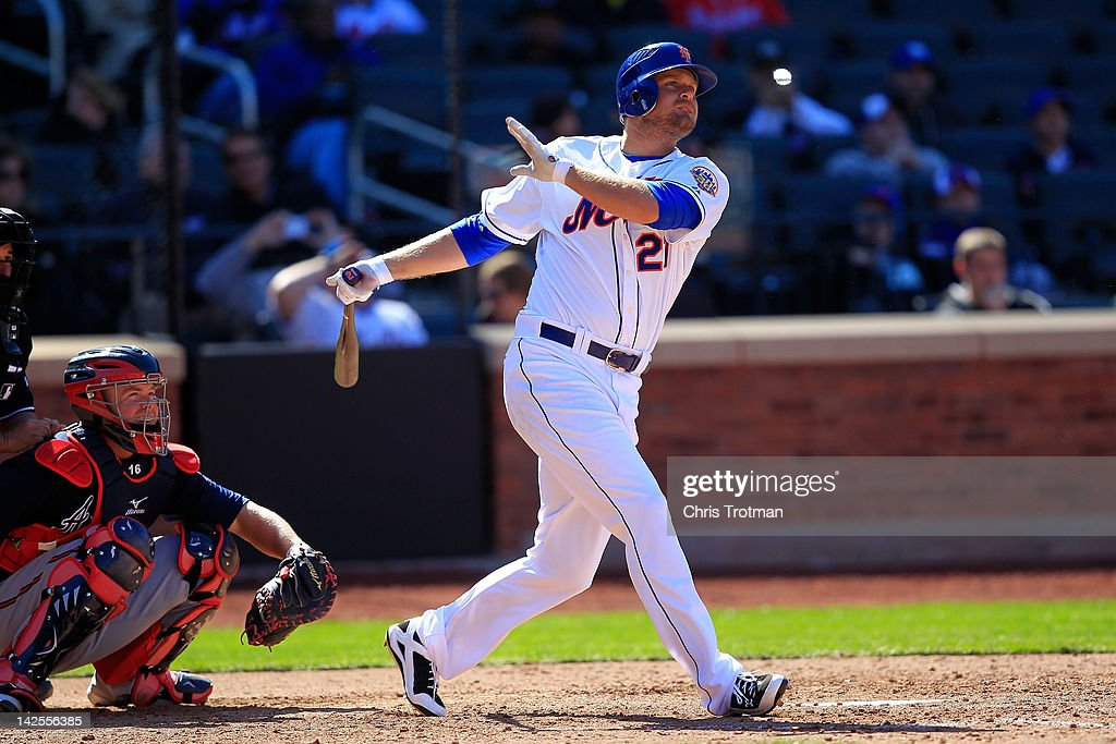 Lucas Duda of the New York Mets homers on a line drive to right field in the 7th inning against the Atlanta Braves at Citi Field on April 7 2012 in...