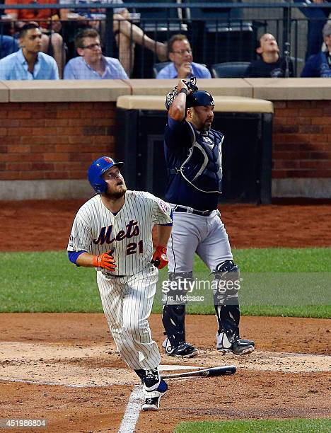 Lucas Duda of the New York Mets in action against the Atlanta Braves at Citi Field on July 9 2014 in the Flushing neighborhood of the Queens borough...
