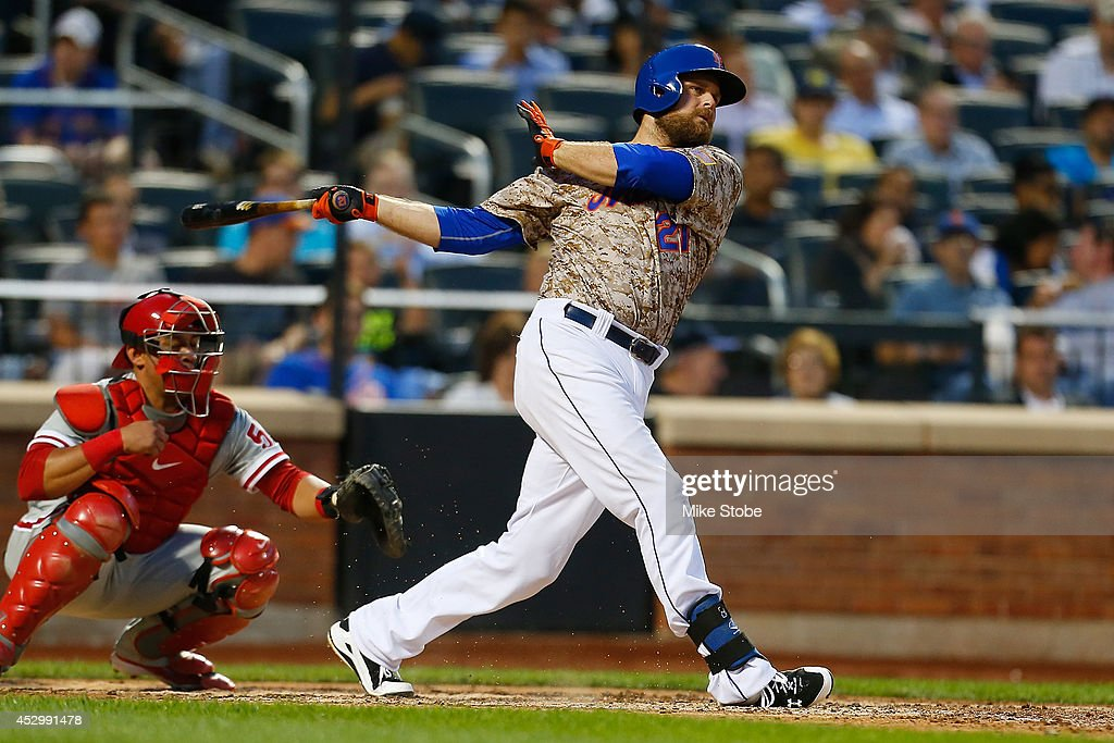 Lucas Duda of the New York Mets in action against the Philadelphia Phillies on July 28 2014 at Citi Field in the Flushing neighborhood of the Queens...