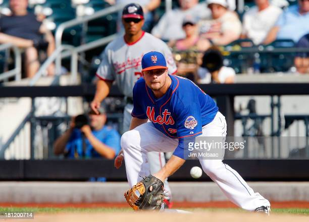 Lucas Duda of the New York Mets in action against the Washington Nationals at Citi Field on September 12 2013 in the Flushing neighborhood of the...