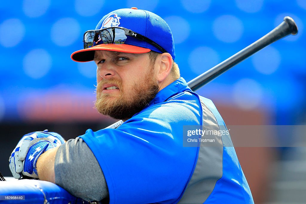 Lucas Duda #21 of the New York Mets looks on during batting practice prior to the game against the Miami Marlins at Tradition Field on March 2, 2013 in Port St. Lucie, Florida.