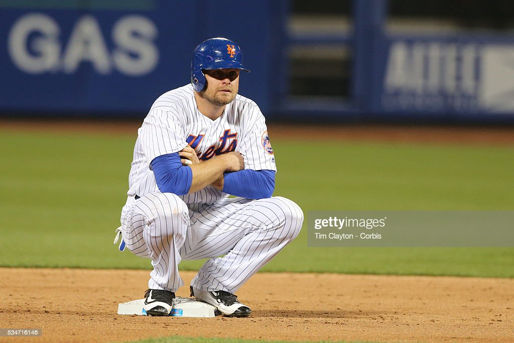 Lucas Duda of the New York Mets on second base during a pitching change in the Milwaukee Brewers Vs New York Mets regular season MLB game at Citi...