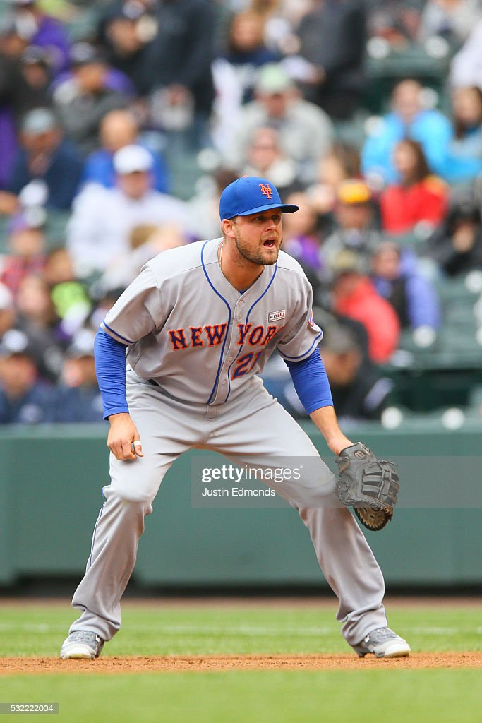 Lucas Duda of the New York Mets prepares for the pitch against the Colorado Rockies at Coors Field on May 15 2016 in Denver Colorado