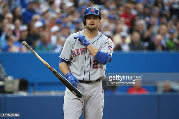 Lucas Duda of the New York Mets reacts after striking out in the third inning during MLB game action against the Toronto Blue Jays on June 17 2015 at...