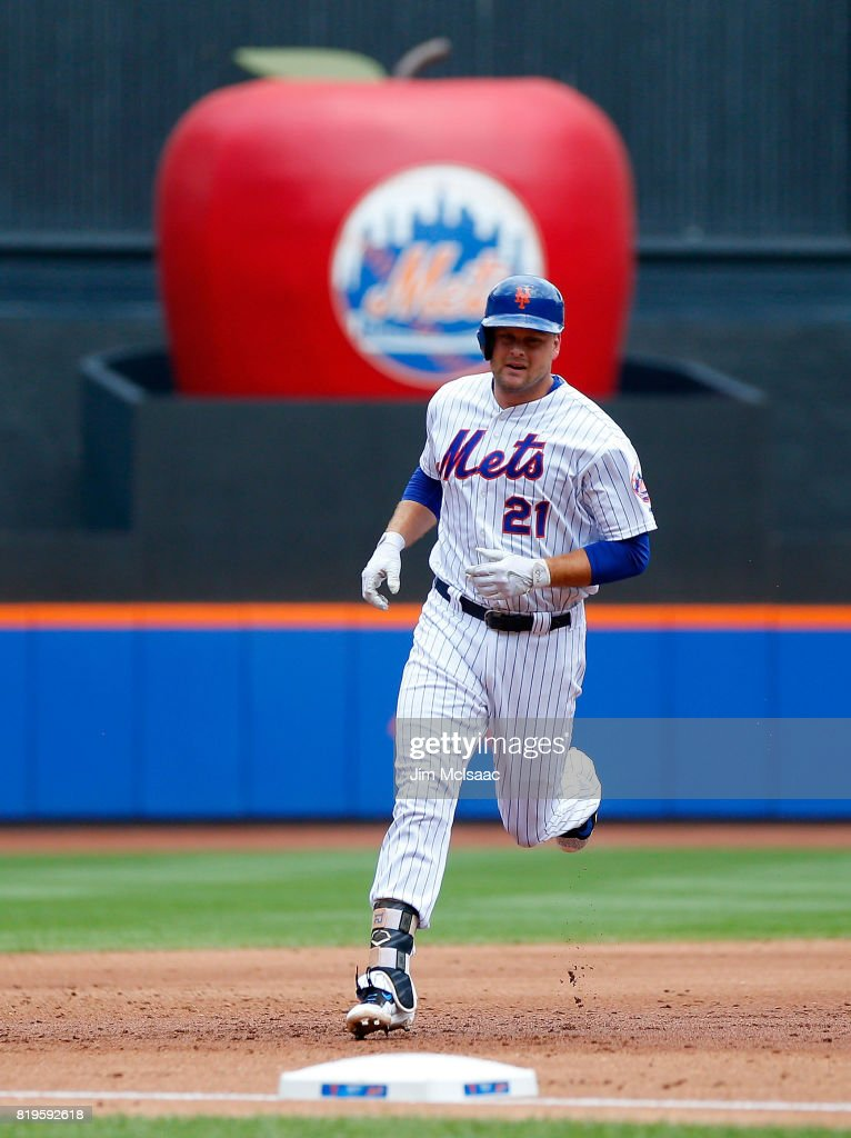 Lucas Duda #21 of the New York Mets runs the bases after his second inning home run against the St. Louis Cardinals on July 20, 2017 at Citi Field in the Flushing neighborhood of the Queens borough of New York City.