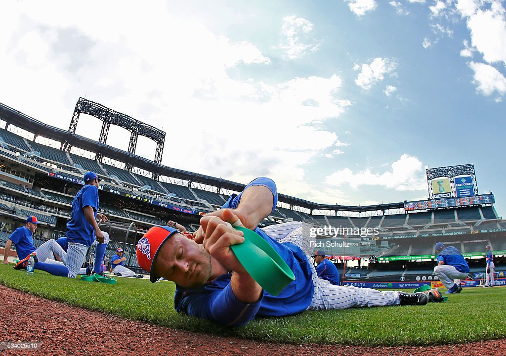 Lucas Duda of the New York Mets stretches on the field before a game against the Washington Nationals at Citi Field on May 19 2016 in the Flushing...