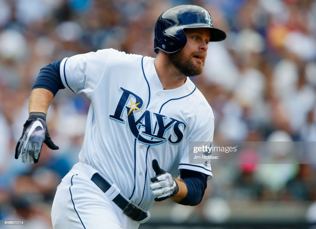Lucas Duda #21 of the Tampa Bay Rays runs out a fifth inning single against the New York Yankees at Citi Field on September 13, 2017 in the Flushing neighborhood of the Queens borough of New York City. The two teams were scheduled to play in St. Petersburg, Florida but due to the weather emergency caused by Hurricane Irma, the game was moved to New York, but with Tampa Bay remaining the 'home' team.
