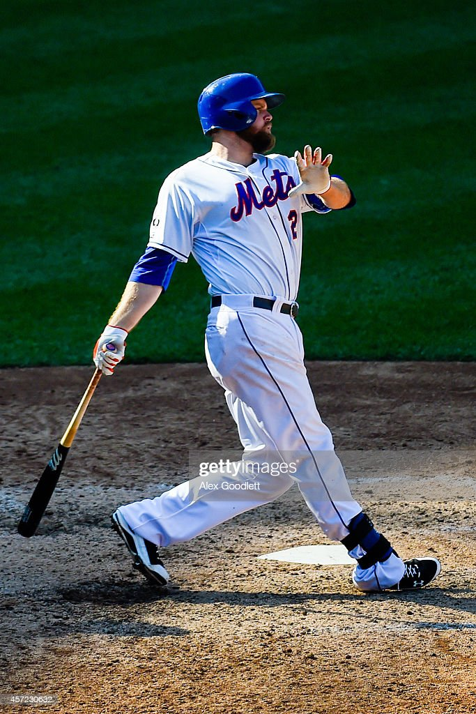 Lucas Duda swings at a pitch during a game against the Houston Astros at Citi Field on September 28 2014 in the Flushing neighborhood of the Queens...