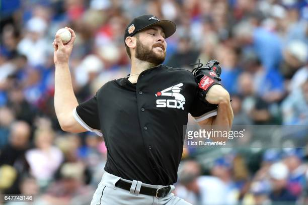Lucas Giolito of the Chicago White Sox pitches against Chicago Cubs on February 27 2017 in Mesa Arizona