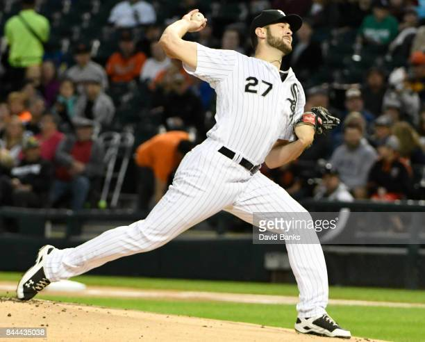 Lucas Giolito of the Chicago White Sox pitches against the San Francisco Giants during the first inning on September 8 2017 at Guaranteed Rate Field...