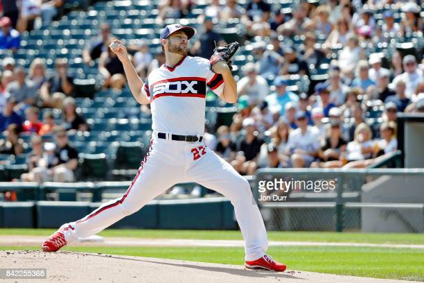 Lucas Giolito of the Chicago White Sox pitches against the Tampa Bay Rays during the first inning at Guaranteed Rate Field on September 3 2017 in...