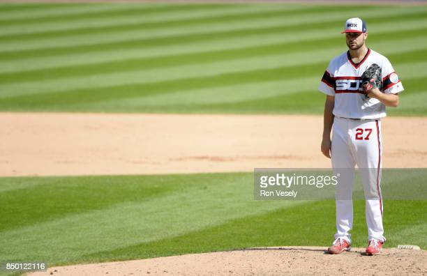 Lucas Giolito of the Chicago White Sox pitches against the Tampa Bay Rays on September 3 2017 at Guaranteed Rate Field in Chicago Illinois