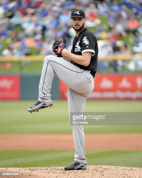 Lucas Giolito of the Chicago White Sox pitches during a spring training game against the Chicago Cubs on February 27 2017 at Sloan Park in Mesa...