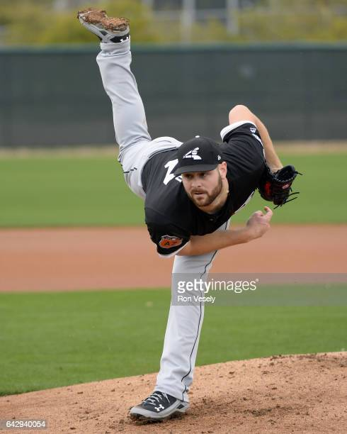 Lucas Giolito of the Chicago White Sox pitches during spring training workouts on February 18 2017 at Camelback Ranch in Glendale Arizona