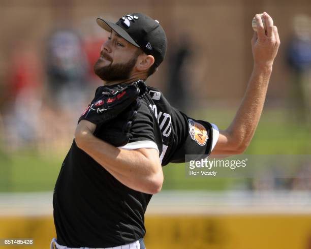 Lucas Giolito of the Chicago White Sox pitches during the spring training game against the Los Angeles Angels of Anaheim on March 4 2017 at Camelback...