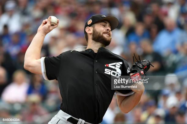 Lucas Giolito of the Chicago White Sox pitches in the first inning of a Cactus League spring training game against Chicago Cubs on February 27 2017...