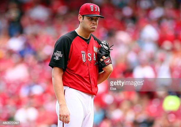 Lucas Giolito of the US Team reacts against the World Team during the SiriusXM AllStar Futures Game at the Great American Ball Park on July 12 2015...