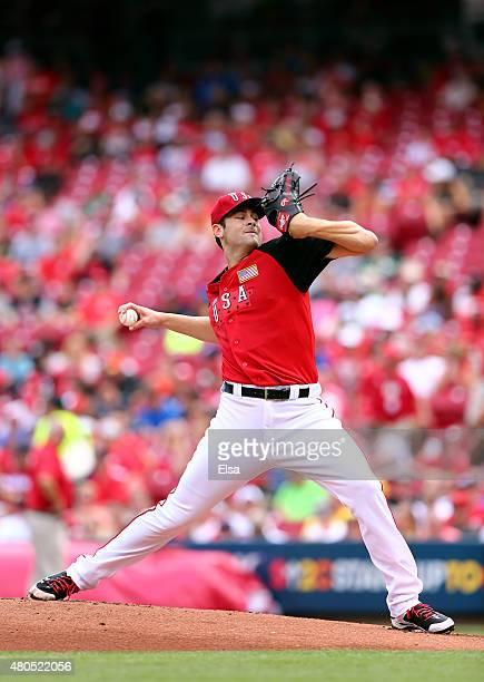Lucas Giolito of the US Team throws a pitch against the World Team during the SiriusXM AllStar Futures Game at the Great American Ball Park on July...