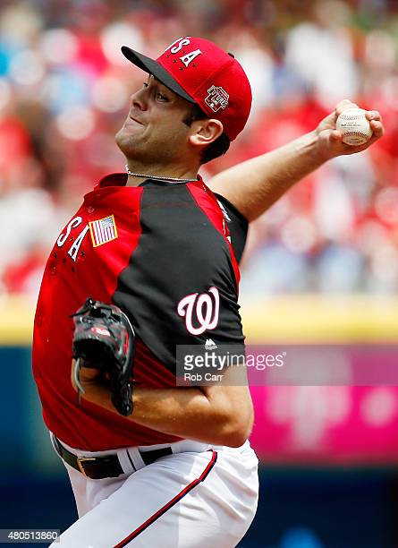 Lucas Giolito of the US Team throws a pitch in the first inning against the World Team during the SiriusXM AllStar Futures Game at the Great American...