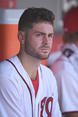 Lucas Giolito of the Washington Nationals looks on during a baseball game against the San Diego Padres at Nationals Park on July 24 2016 in...