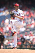 Lucas Giolito of the Washington Nationals pitches during a baseball game against the San Diego Padres at Nationals Park on July 24 2016 in Washington...