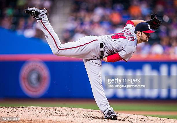 Lucas Giolito of the Washington Nationals pitches during the game against the New York Mets at Citi Field on July 7 2016 in the Queens borough of New...