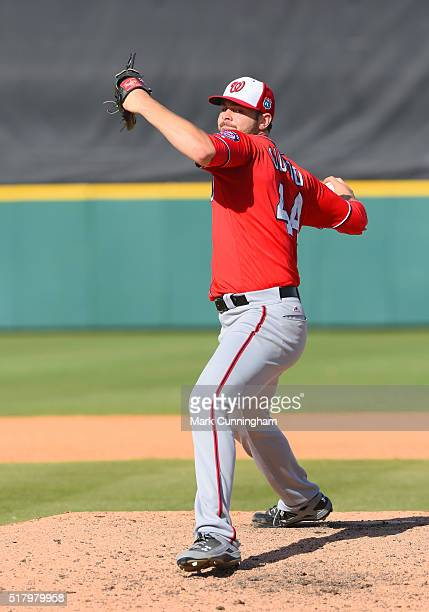Lucas Giolito of the Washington Nationals pitches during the Spring Training game against the Detroit Tigers at Joker Marchant Stadium on March 9...