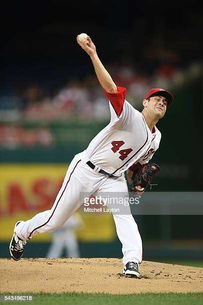 Lucas Giolito of the Washington Nationals pitches in the first inning during a baseball game against the New York Mets at Nationals Park on June 28...
