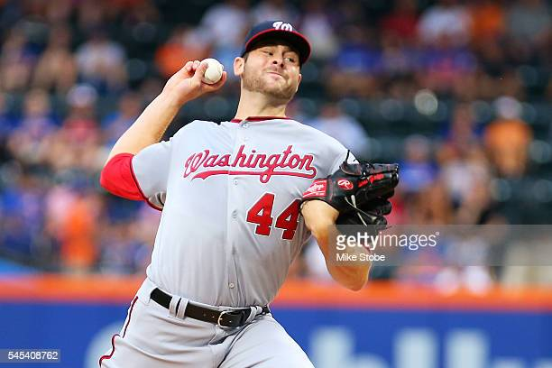 Lucas Giolito of the Washington Nationals pitches in the first inning against the New York Mets at Citi Field on July 7 2016 in the Flushing...