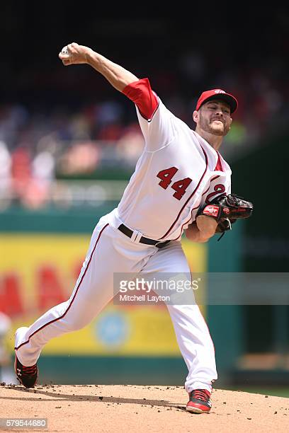 Lucas Giolito of the Washington Nationals pitches in the first inning during a baseball game against the San Diego Padres at Nationals Park on July...
