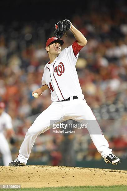 Lucas Giolito of the Washington Nationals pitches in the third inning during a baseball game against the New York Mets at Nationals Park on June 28...