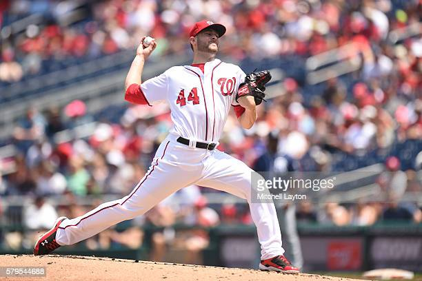 Lucas Giolito of the Washington Nationals pitches in the third inning during a baseball game against the San Diego Padres at Nationals Park on July...