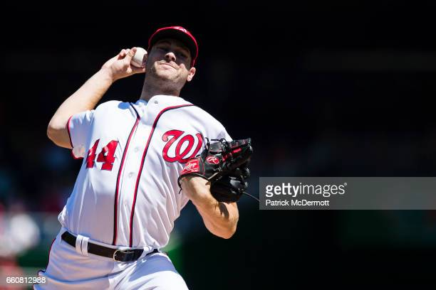 Lucas Giolito of the Washington Nationals throws a pitch to a Colorado Rockies batter in the first inning during a MLB baseball game at Nationals...
