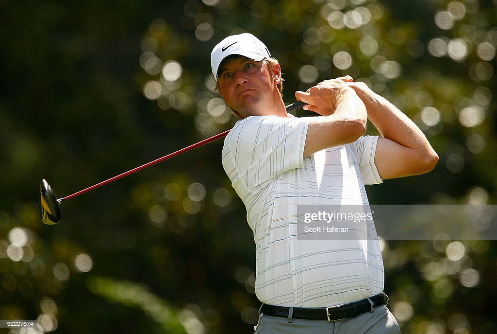 Lucas Glover hits a shot during the final round of THE TOUR Championship presented by CocaCola the final event of the PGA TOUR Playoffs for the...