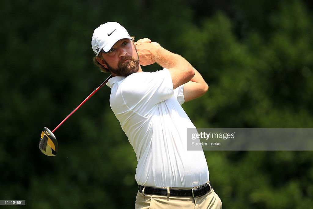 Lucas Glover hits his tee shot on the 11th hole during the second round of THE PLAYERS Championship held at THE PLAYERS Stadium course at TPC...