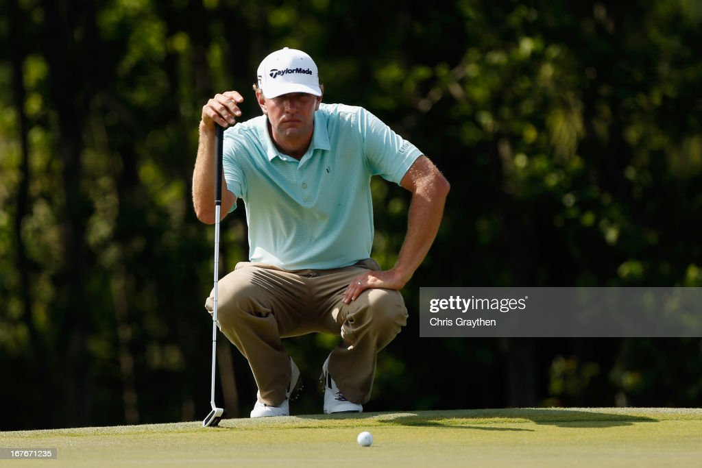 Lucas Glover lines up a putt on the 15th hole during the third round of the Zurich Classic of New Orleans at TPC Louisiana on April 27, 2013 in Avondale, Louisiana.