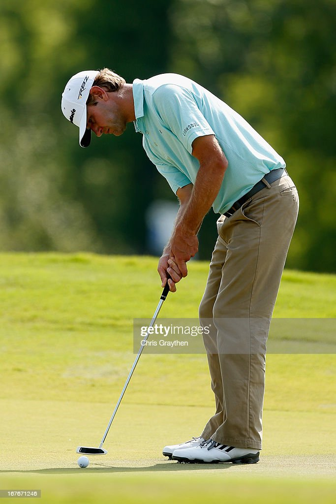 Lucas Glover makes a putt on the 14th hole during the third round of the Zurich Classic of New Orleans at TPC Louisiana on April 27, 2013 in Avondale, Louisiana.