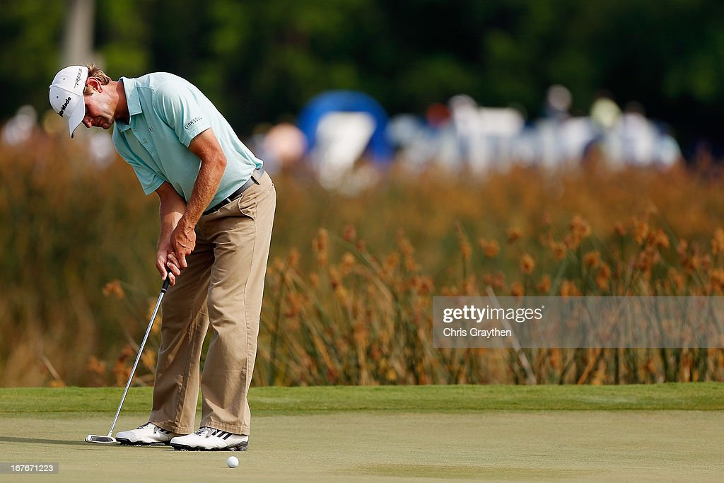 Lucas Glover makes a putt on the 16th hole during the third round of the Zurich Classic of New Orleans at TPC Louisiana on April 27, 2013 in Avondale, Louisiana.