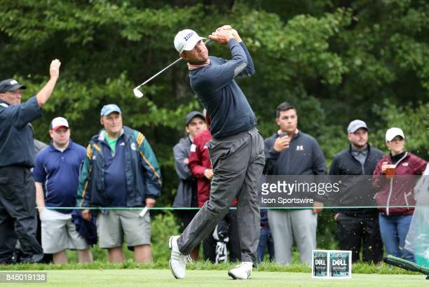 Lucas Glover of the United States drives from the 8th tee during the third round of the Dell Technologies Championship on September 3 at TPC Boston...