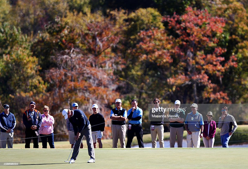 Lucas Glover of the United States putts on the second hole during the Final Round of the Sanderson Farms Championship at The Country Club of Jackson...