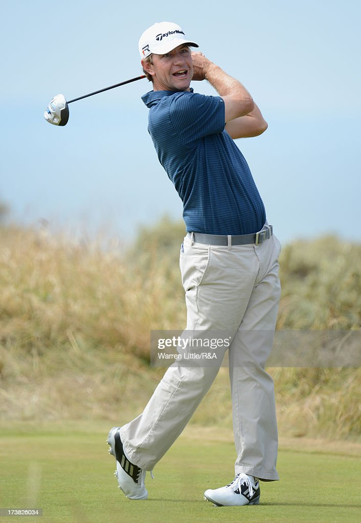 Lucas Glover of the United States tees off on the 5th hole during the first round of the 142nd Open Championship at Muirfield on July 18 2013 in...