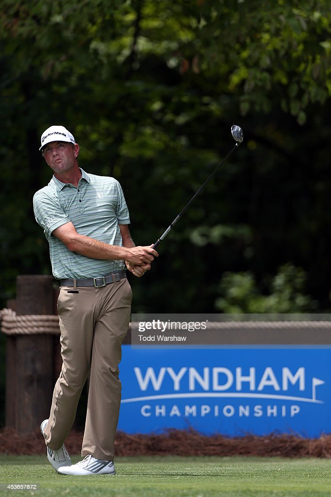 Lucas Glover plays his tee shot on the second hole during the second round of the Wyndham Championship at Sedgefield Country Club on August 15 2014...