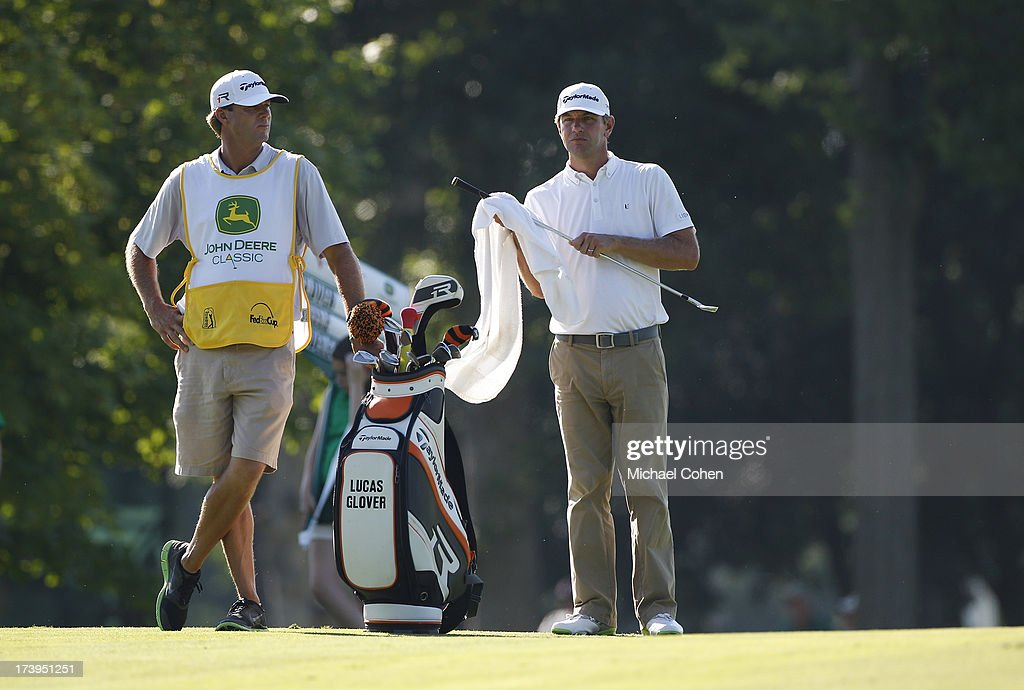 Lucas Glover prepares to hit a shot from the fairway during the second round of the John Deere Classic held at TPC Deere Run on July 12 2013 in...