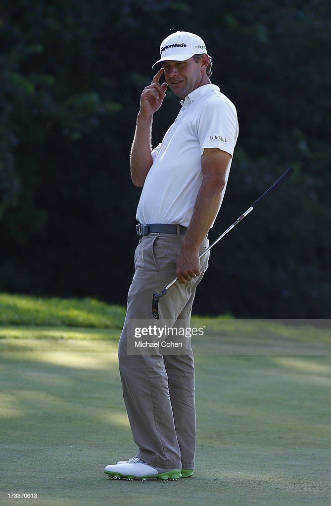 <a gi-track='captionPersonalityLinkClicked' href=/galleries/search?phrase=Lucas+Glover&family=editorial&specificpeople=564148 ng-click='$event.stopPropagation()'>Lucas Glover</a> reacts to his missed birdie putt on the ninth greenduring the second round of the John Deere Classic held at TPC Deere Run on July 12, 2013 in Silvis, Illinois.